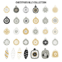 Big set of New Year decorations. Hand drawn Christmas balls collection. Vector illustration
