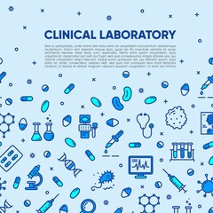 Medical research, clinical laboratory, lab tests & healthcare, medical equipment banner template. Medical science, microbiology, virology study, immune system and genetics analysis. Vector eps 10