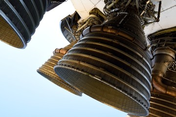 Large powerful rocket engines, isolated, Apollo Saturn V booster.