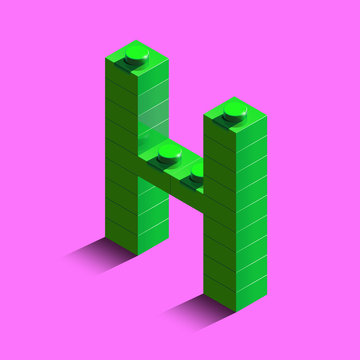 Realistic red 3d isometric letter H of the alphabet from constructor lego bricks. Red 3d isometric plastic letter from the lego building blocks. Lego letters. 3d letters