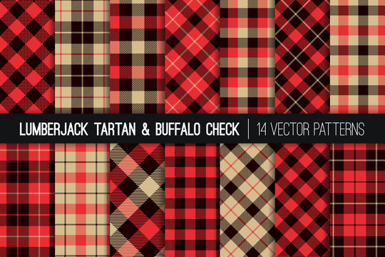 Lumberjack Tartan and Buffalo Check Plaid Vector Patterns. Red, Black and Tan Christmas Backgrounds. Hipster Flannel Shirt Fabric Textures. Repeating Pattern Tile Swatches Included