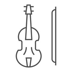 Violin thin line icon, musical and instrument, viola sign, vector graphics, a linear pattern on a white background.