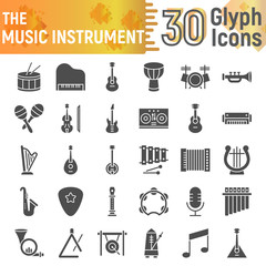 Music instrument glyph icon set, musical symbols collection, vector sketches, logo illustrations, sound signs solid pictograms package isolated on white background.