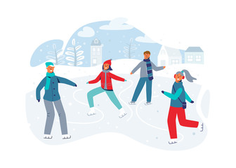 Happy Characters Skating on Ice Rink. Winter Season People Ice Skaters. Cheerful Man and Woman in Winter Clothes on Snowy Landscape. Vector illustration