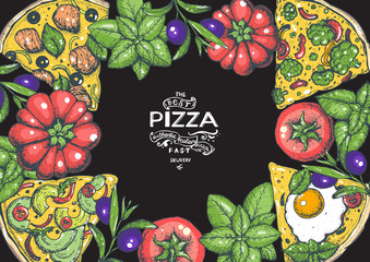 Italian pizza and ingredients top view frame. Colored illustration. Italian food menu design template. Vintage hand drawn vector illustration. Pizza label for menu.