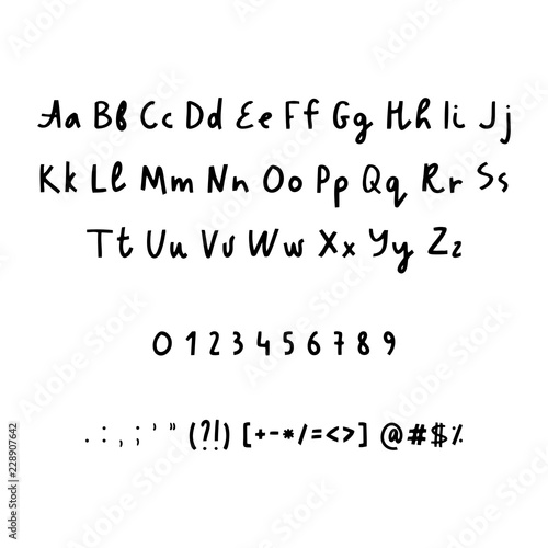Hand drawn alphabet numbers and punctuation marks  Rustic font