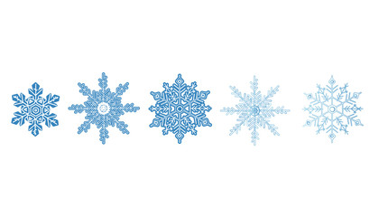 Snowflake icon set. Winter christmas blue color crystal element. Frost flat isolated silhouette. Ice vector collection.