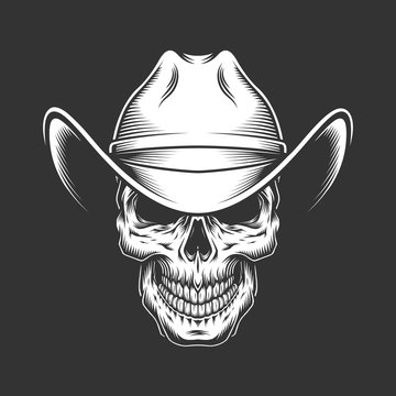 Vintage monochrome skull in cowboy hat