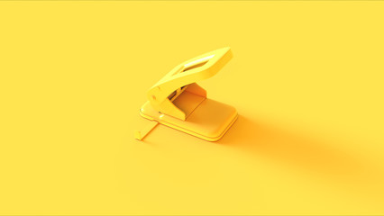 Yellow Office Hole Punch 3d illustration 3d render