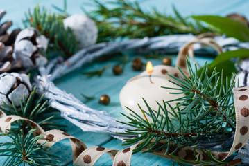 Christmas wreath on blue wood table
