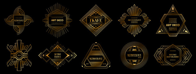 Set of Art deco borders and frames. Geometric template in 1920s Gatsby style for your design, wedding card, cover, banner decoration. Vector illustration EPS 10