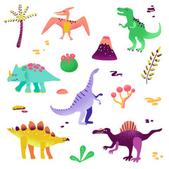 Cute Dinosaurs isolated on white background. Dinosaur footprint, Volcano, Palm tree, Stones. Baby Dino Collection for Nursery, Textile, Book, Print in vector
