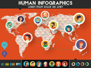 Social Networks Users infographics, trendy vector illustration