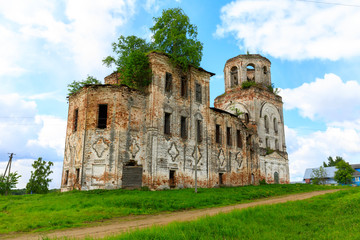 abandoned settlement and beautiful architecture of the abandoned ruins of the Orthodox Church in an abandoned village in Kostroma region