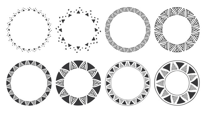 Set of hand drawn round frames. Tribal and geometric decorative design elements. Circle ornaments. Hand drawn clip art.