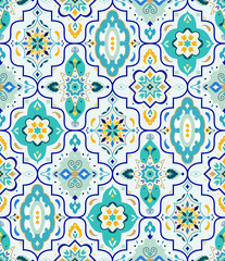 Seamless Vector Moroccan Geometric Lantern Pattern - Shapes in Turquoise, Gold, Mint & Royal Blue