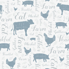 Seamless Vector Modern Farmhouse Cow, Chicken, and Pig Pattern in Blue, Gray, & Silver