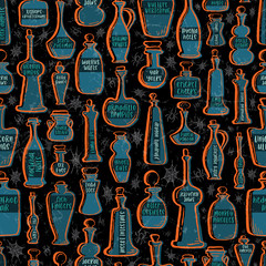 Seamless Vector Textured Glass Potion Bottles in Orange, Teal, Gray, & Black with Spiders & Webs.