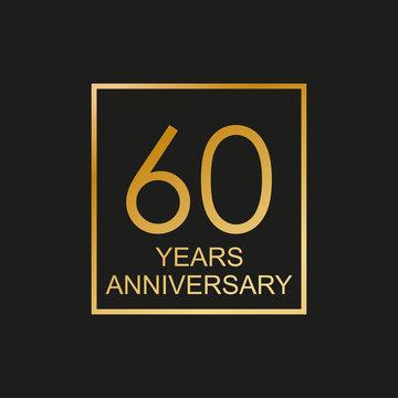 60 years anniversary logo. 60th anniversary celebration label. Design element or banner for birthday, invitation, wedding jubilee. Vector illustration.