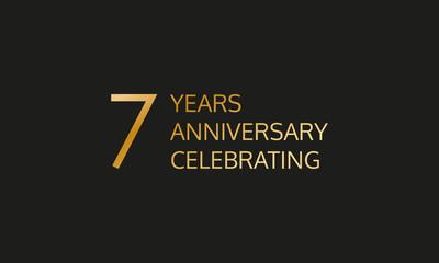 7 years anniversary logo. 7th anniversary celebration label. Design element or banner for birthday, invitation, wedding jubilee. Vector illustration.
