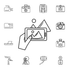 photo on phone icon. Detailed set of photo camera icons. Premium quality graphic design icon. One of the collection icons for websites, web design, mobile app