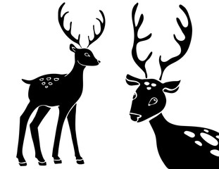 Forest animals vector silhouettes set. Predator animal mammal, illustration of black silhouette deer. hand drawing sketch.