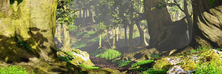path through the woods, magical sunlight in fantasy forest landscape