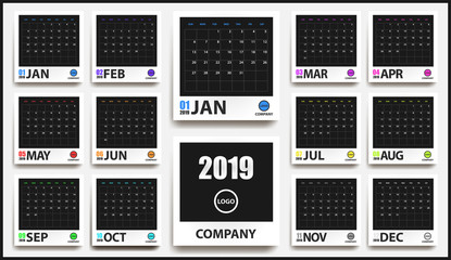 2019 colored calendar mockup in realistic photo frame with shadow isolated. Event planner. All size. Vector illustration