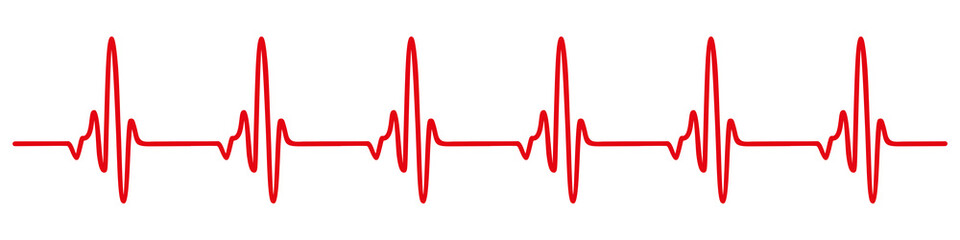 Heart pulse, cardiogram sign, heartbeat, one line - for stock