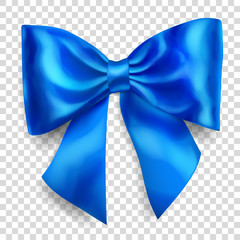 Beautiful big bow made of blue ribbon with shadow on transparent background