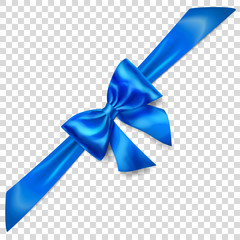 Beautiful blue bow with diagonally ribbon with shadow on transparent background