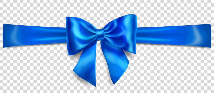 Beautiful blue bow with horizontal ribbon with shadow on transparent background