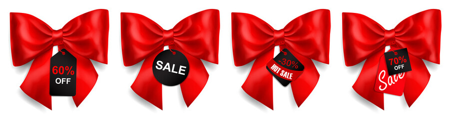 Papiers peints Comics Set of big red bows with shadows and sale labels and tags on white background