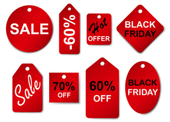 Set of sale labels and tags in red colors