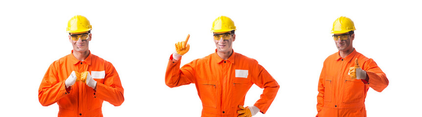 Contractor employee wearing coveralls isolated on white