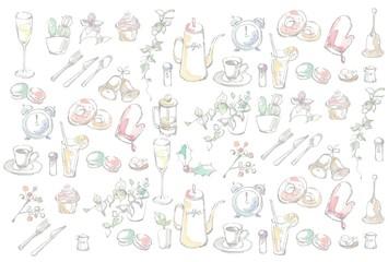 インテリアとカフェのセット、ランダム、カラー、背景用