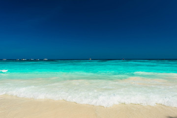 Wall Mural - Wonderful tropical sea and turquoise water surface, Beautiful blue sea with blue sky at Tachai island, Thailand