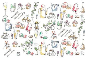 インテリアとカフェのセット、ランダム、カラー