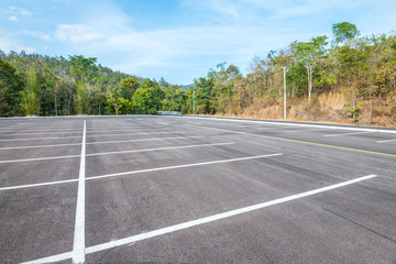 Empty space outdoor asphalt parking lot in national park
