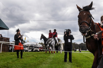 Horses gather at the starting line during the 98th Running of the Far Hills Race Meeting at Mooreland Farm in Far Hills