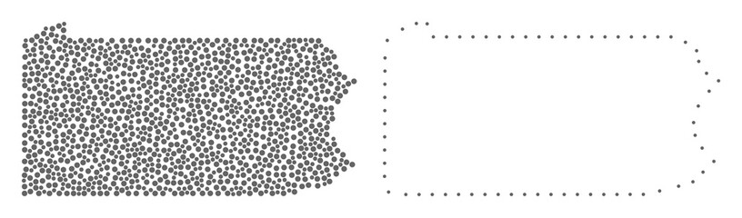 Dot and Frame map of Pennsylvania State designed with dots. Vector gray abstraction of map of Pennsylvania State. Connect the dots educational geographic drawing for map of Pennsylvania State.