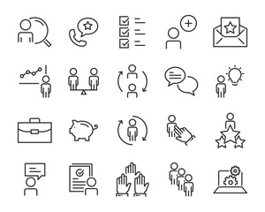 set of work icons, such as job, search, business, training, skills