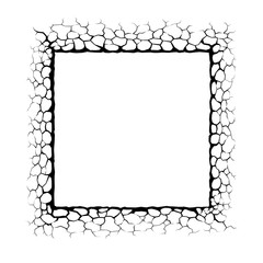 Frame with cracks. Concrete wall Texture design in square with stone polygon style.