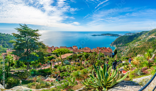 Wall mural Eze village at french Riviera coast, Cote d'Azur, France
