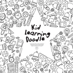 Set of hand drawn kid learning doodles shaped in star : Vector Illustration