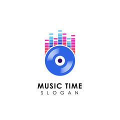 dj music logo design with vinyl disc illustration. vinyl music icon symbol design