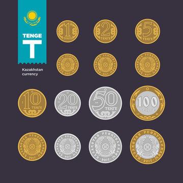 Tenge — Kazakhstan currency in vector format. Exact reproduction of coins.