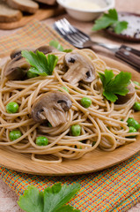 Dark pasta with mushrooms