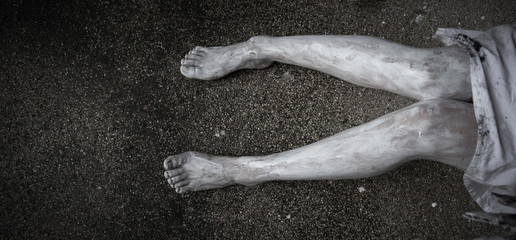 Legs of horror woman ghost creepy with copy space for background,