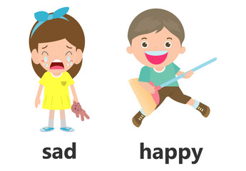Opposite words sad and happy vector illustration, Opposite English Words sad and happy vector illustration on white background